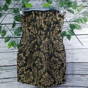 H&M strapless shimmer gold print mini dress sz 4
